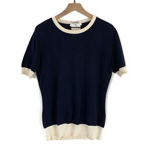 Chanel Boutique Navy Blue Short Sleeve Sweater